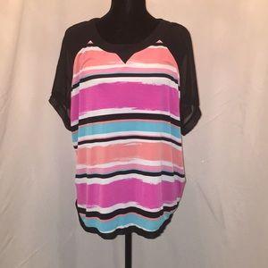 Worthington multi colored mesh sleeve top